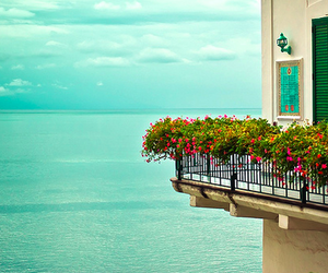 sea, flowers, and balcony image