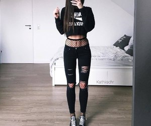 outfit, black, and fishnet image