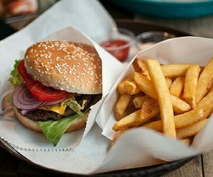 burger, cheese, and fries image