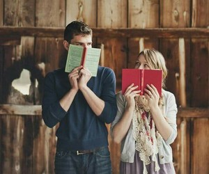 book, couple, and boy image