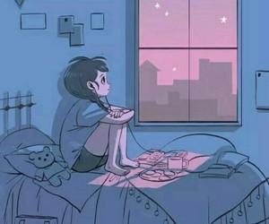night, alone, and art image