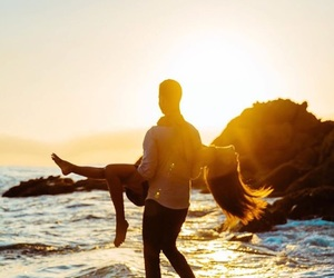 girl, beach, and couple image