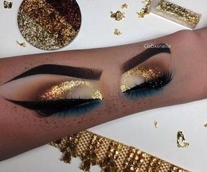 art, makeup, and gold image