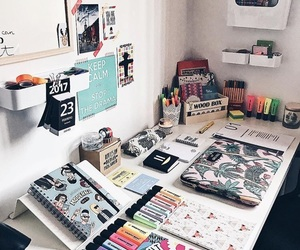 desk, faded, and pens image