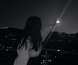girl, moon, and night image