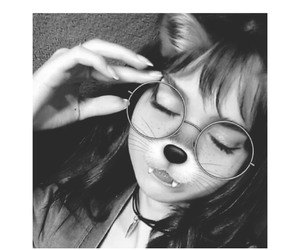 bangs, black and white, and fox image