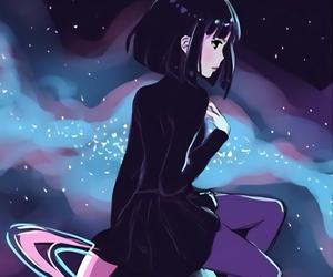 anime, anime girl, and galaxy image