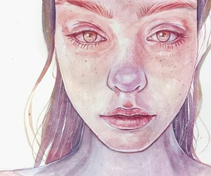 girl, scetch, and watercolor image