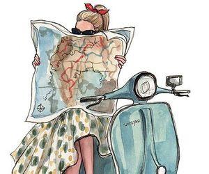 map, travel, and Vespa image