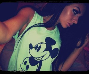girl, mickey mouse, and tan image