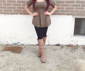 fashionista, long hair, and red hair image