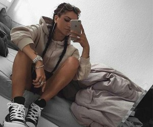 girl, outfit, and goals image