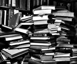 book, black and white, and library image