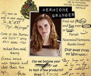 harry potter, hermione granger, and yearbook notes image