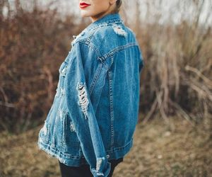 black, denim jacket, and fashion image