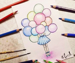 balloons, girl, and multicolored image