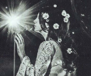 lana del rey, black and white, and flowers image