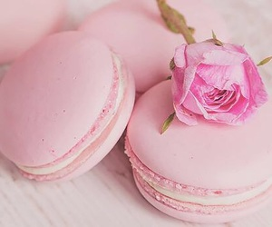 flowers, macarons, and pink image