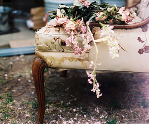 flowers, chair, and vintage image