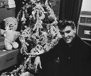 black and white, christmas, and elvis image