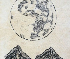 moon, art, and mountains image