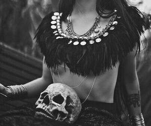 black, dark, and skull image