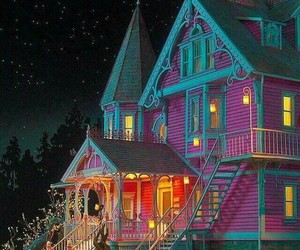 coraline, house, and pink image