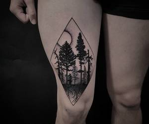dark, forest, and tattoo image