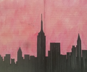 city, drawing, and pink image