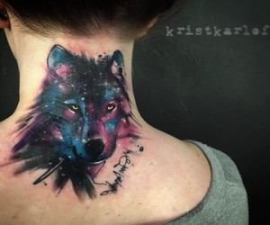 colour, tattoo, and wolf image