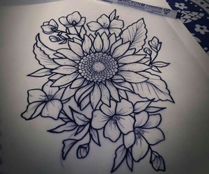 flowers, flower tattoos, and tattoo outline image