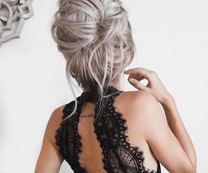 hair, back tattoo, and hairstyle image