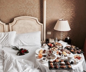 bed, breakfast in bed, and breakfast image
