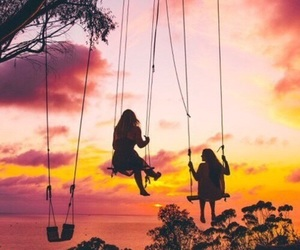friends, beautiful, and sunset image