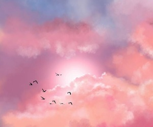 birds, clouds, and painting image