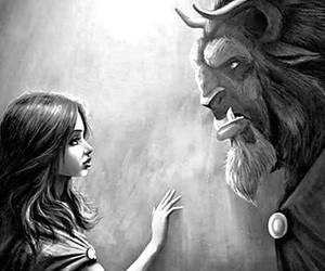 beast, belle, and black and white image
