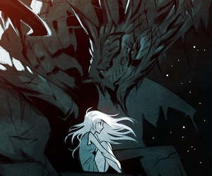 anime, sad girl, and silver hair image