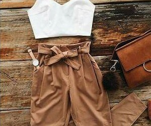 brown, outfit, and white image