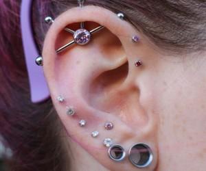 earrings, girl, and piercing image