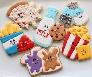 food, Cookies, and milk image