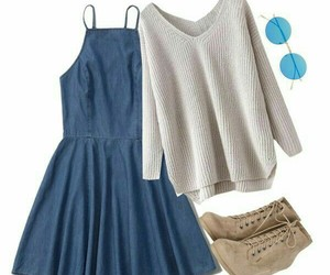 little boots, sweather, and jeans dress image
