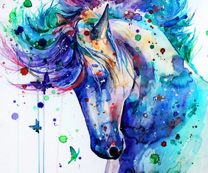 aquarelle, peinture, and cheval image