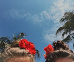 beach, flowers, and hair image