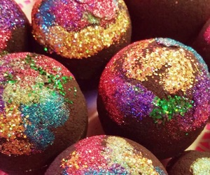 bath bombs, brown, and glitter image