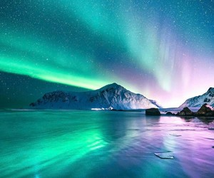 mountains, nature, and northern lights image