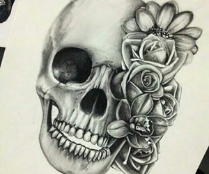 skull, flowers, and drawing image