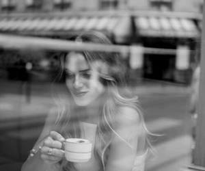 beauty, black and white, and coffee image