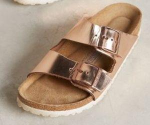 birkenstock, gold, and sandals image