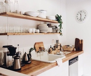 kitchen, white, and wood image