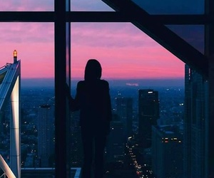 girl, sky, and city image